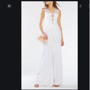 BCBGMaxAzria Brandy Lace Trim White Gown Wedding